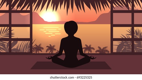 Woman Meditating in Pose Lotus, Sunrise or Sunset, Sea, Mountain and Palm Trees, Home Interior - Illustration Vector