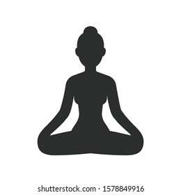 Woman meditating sitting in lotus pose, stylized female body silhouette. Simple vector icon isolated on white. Yoga and meditation clip art illustration.