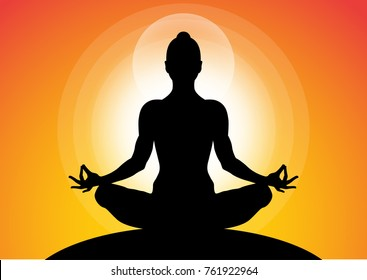 woman meditating in sitting yoga position on the top of a mountains at sunset. Zen, meditation, peace, Vector illustrations