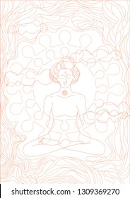 woman in meditation close to Nirvana (red lines on white background)