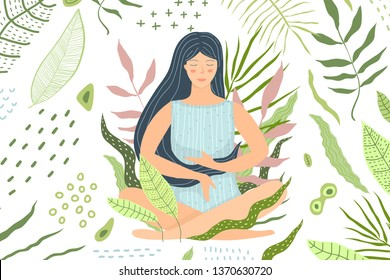 Woman Meditation in Nature Green Background. Natural environment green relaxation woman and calmness.