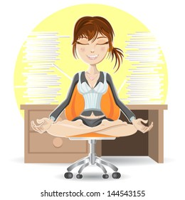 Woman Meditation At The Office Calming Down In Busy Environment