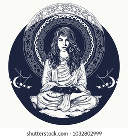 Woman meditation tattoo art and t-shirt design. Girl in lotus pose. Symbol philosophy, astrology, magic, yoga