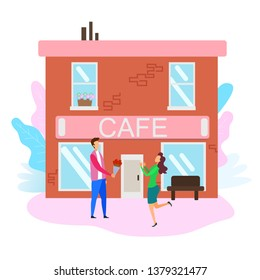 Woman Meeting Man with Bouquet Street Outside Cafe Vector Illustration. Boyfriend Greeting Girfriend Husband Wife Anniversary Celebration Bithday Present Love Dating Romance Valentines Holiday