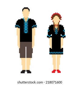 Woman and men in black ethnic Ukrainian clothing. People icons in ethnic clothes. Pixel vector illustration.