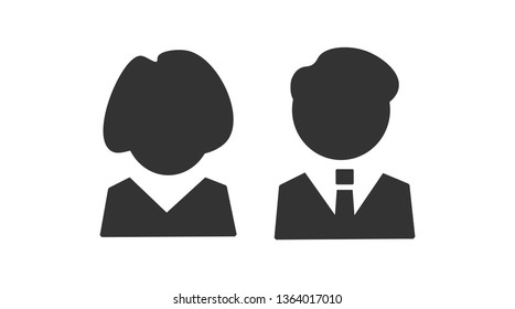 Woman and men icons on white background