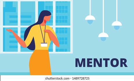 Woman Mentor Conducts Training at Office. Training for Women. Vector Illustration. White Background. Room with Blue Interior. Communication Coach and Client. Woman Stand near Window. Lead Discussion.