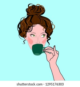 Woman with messy bun drinking coffee stylish girl vector isolated