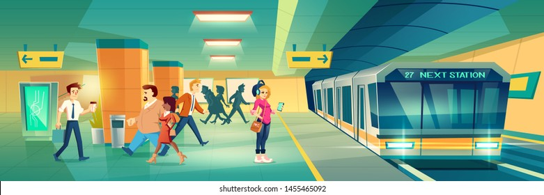 Woman at metro station. Relaxed girl listen music in headset going to subway entrance, stand on tube platform, city metropolitan underground view with train. Cartoon vector illustration
