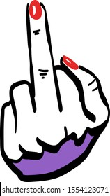 woman middle finger shows gesture fuck you. hand pen drawing with red and violet color