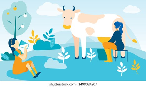 Woman Milks Cow and Girl Drinks Fresh Milk. Vector Illustration. People on Farm. Farm Product. Farm Business. Little Girl in Yellow Dress. Sitting with Glass Milk in Hand on Farm. Bucket with Milk.