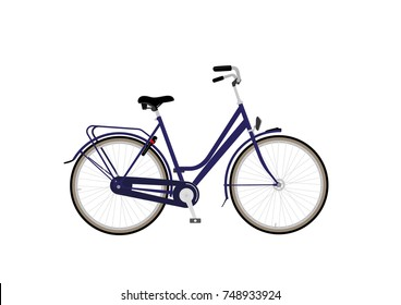 Woman model city bike with blue frame, back-pedal brake and bike lock.
