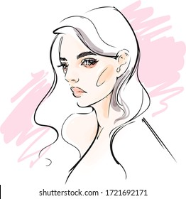 Woman model face drawing. Hand drawn vector sketch.