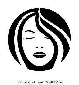 Woman model hair face icon