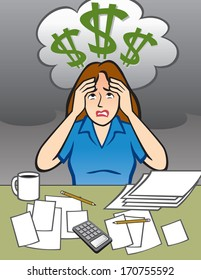 Woman with Money Problems - Illustration