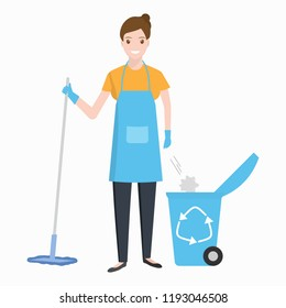 Woman with mop and  trash bin icon, Cleaning illustration