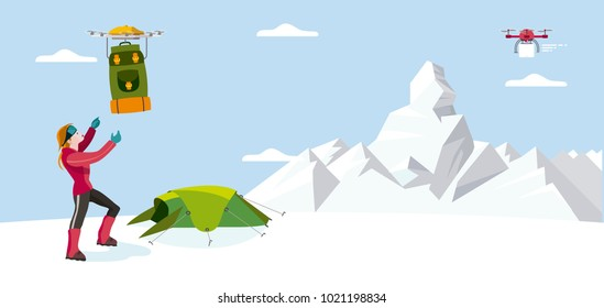 A woman mountaineer ready to climb a mountain, receive a backpacks by a drone in the base climbing camp.