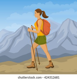 Woman Mountains Hiking. Girl Trekking in Mountains