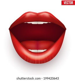 Woman mouth with open lips. Vector Illustration. Isolated on white background.