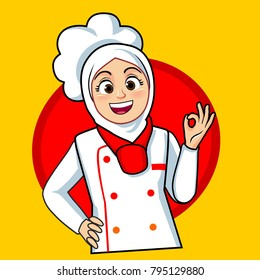 muslim chef images stock photos vectors shutterstock https www shutterstock com image vector woman muslim chef ok fingers 795129880