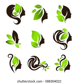 Woman Natural Beauty and Spa Salon Logo Design Collection