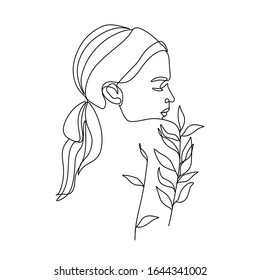 Woman nature line drawing. Girl with leaves vector. Save Nature. Earth Day. Abstract face with flowers by one line vector drawing. Portrait minimalistic style. Botanical print. Nature symbol
