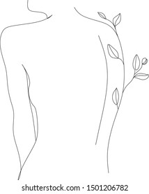 Woman with nature vector line drawing. One line illustration. Fashion print logo. Natural cosmetics logo. Minimalist scandinavian print. Floral print. Line art. Nude poster