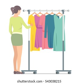 Woman near rack with clothes. Vector isolated illustration on white background