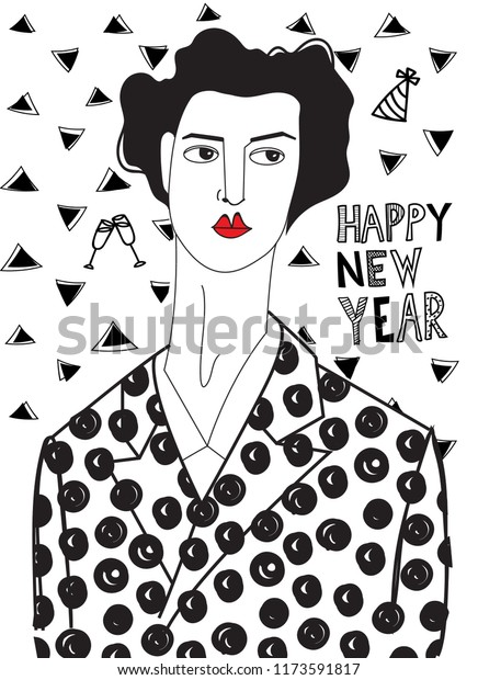 Woman New Years Eve Black White Stock Vector Royalty Free 1173591817