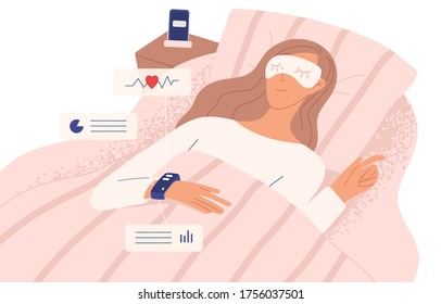 Woman in night mask lying on bed in sleeping tracker vector flat illustration. Relaxed female in modern device control quality and quantity of sleep isolated on white. Electronic smart watch app