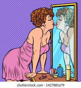 woman in nightgown kissing her reflection in the mirror. Pop art retro vector Illustrator vintage kitsch drawing