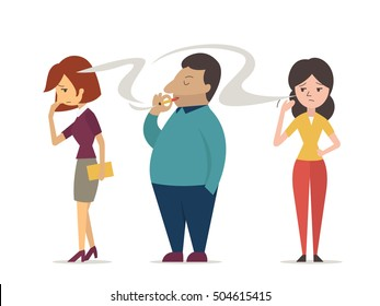 Woman or non smoking people try to covering her face from cigarette smoke. Vector character design in concept of passive smoking, second hand smoking, and pollution.