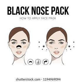 Woman with Nose pack. Blackheads on Nose. Girl take care of her face. Blackheads treatment procedure with blackhead patch. Vector illustration for instructions. Fashion, beauty. Sketch drawing