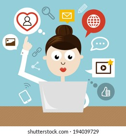 Woman with notebook and social media icons