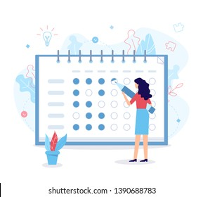 The woman notes the bullets in the habit tracker. Self-improvement concept. Flat vector illustration.