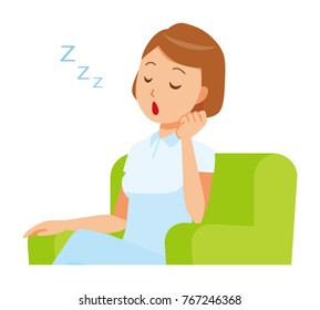 A woman nurse wearing a white uniform is sitting on a sofa and falling asleep