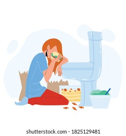 Woman Nutrition Disorder Bulimia Problem Vector. Young Sad And Depressed Bulimic Girl Feeling Sick Bulimia Guilty Sitting On Floor Leaning On Toilet Eating Burger. Character Flat Cartoon Illustration
