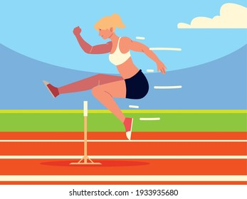 woman obstacle track athletic sport