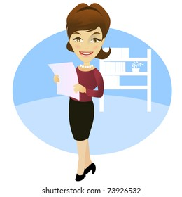 Woman in the office with a document