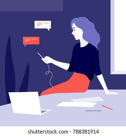Woman in the office. The girl is sitting on the desktop and writing a message. Vector illustration