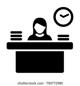 Woman Office Worker Icon Person Working on Desk with files and books in Glyph Pictogram illustration