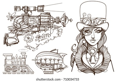 A woman in an old hat and a steampunk gun. Templates for creating business cards, posters, advertising pages.