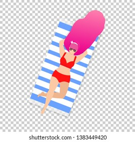 Woman on Beach Isolated on Transparent Background. Young Girl in Sunglasses and Sexy Swim Wear with Pink Long Hair Relaxing on Striped Towel. Sunbathing Lady Cartoon Flat Vector Illustration, Clip Art