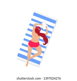 Woman on Beach Isolated on White Background. Young Girl in Sexy Swim Suit Relaxing Topless Lying on Belly on Towel and Reading Book. Sunbathing Lady. Cartoon Flat Vector Illustration, Clip Art