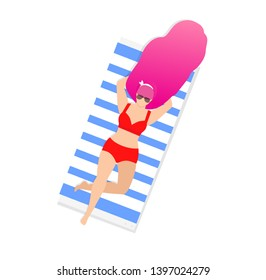 Woman on Beach Isolated on White Background. Young Girl in Sunglasses and Sexy Swim Wear with Pink Long Hair Relaxing on Striped Towel. Sunbathing Lady Cartoon Flat Vector Illustration, Clip Art