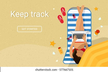 Woman on the beach textured sand and working with laptop in social networks under summer umbrella. Flat vector illustration top view of people relaxing on seaside using working, freelancing and typing