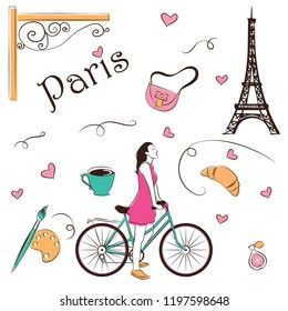 Woman on bicycle with french icon, paris sketch hand drawn abstract cartoon vector illustration