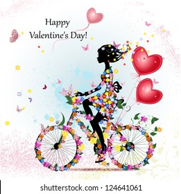 Woman on bicycle with valentines