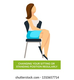 Woman on chair changing sitting or standing position regularly vector isolated female character healthcare and medicine medical advice posture and numbed limbs prevention skeleton and muscles tension.