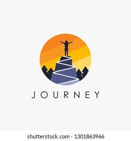 Woman on a mountain peak logo, freedom logo icon vector template on white background